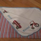 2006 Gymboree Zoom Red, White & Blue Stripes with Wagon, Trike, Car, Tricycle Blanket