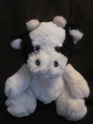 Best Made Toys Plush 6 Inch Black & White Cow Tan Horns Pink Ribbon