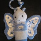 Carters Plush Blue Floral Musical Light Up Butterfly Hanging Toy