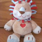 Baby Ganz Plush Rattle Tan Beige Lion Red and Blue Mane Strips Red Heat on Chest