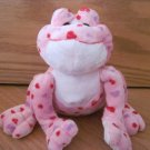 Ganz Webkinz Pink Plush Frog with Red and Purple Hearts No Code