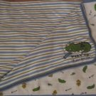 Carters Just One Year Blue Green Striped Wake Up At Your Own Risk Alligator Jungle Friends Blanket