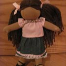 Pottery Barn Kids North American Bear Co Mini Anna Doll Yarn Hair Dark Skin Pink Shirt Denim Skirt