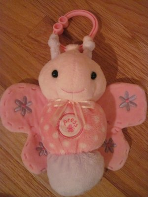 Carters Just One Year Pink Plush Musical Butterfly Hanging