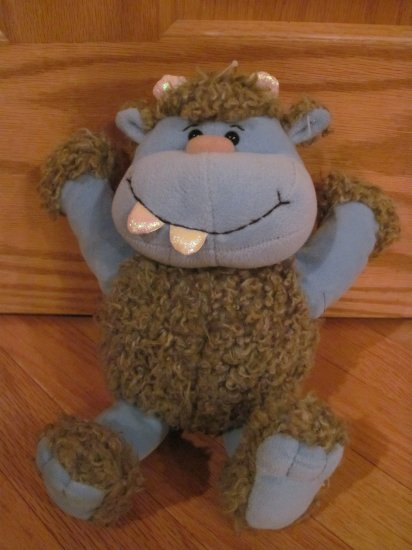 Learning Curve 12 Inch Plush Hug-Grrs Monster Pals Blue Gray Furry Creature
