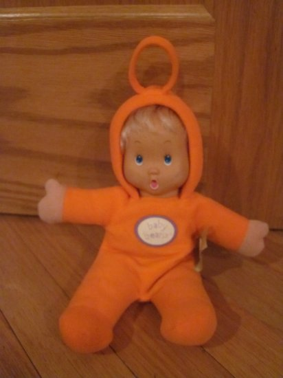 Baby Beans Plush Baby Doll Orange Outfit Squeak Sound in Belly Meritus