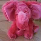 Russ Berrie Plush Red Hot Pink Elephant Named Emeline #29035 Heart Feet