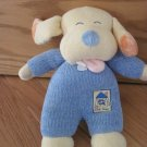 Carters Plush Yellow & Blue Chenille Puppy Dog Sleepy Eyes Going Home Emu Pink Tongue Rattle Toy
