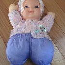 "Goldberger 12"" Baby's First Baby Pink Purple Floral Baby Doll Shiny Crinkle Flowers"