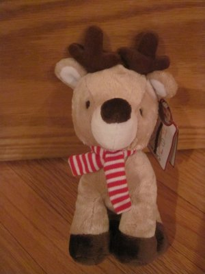 Carters Just One You Plush Brown Reindeer with Red and White Scarf