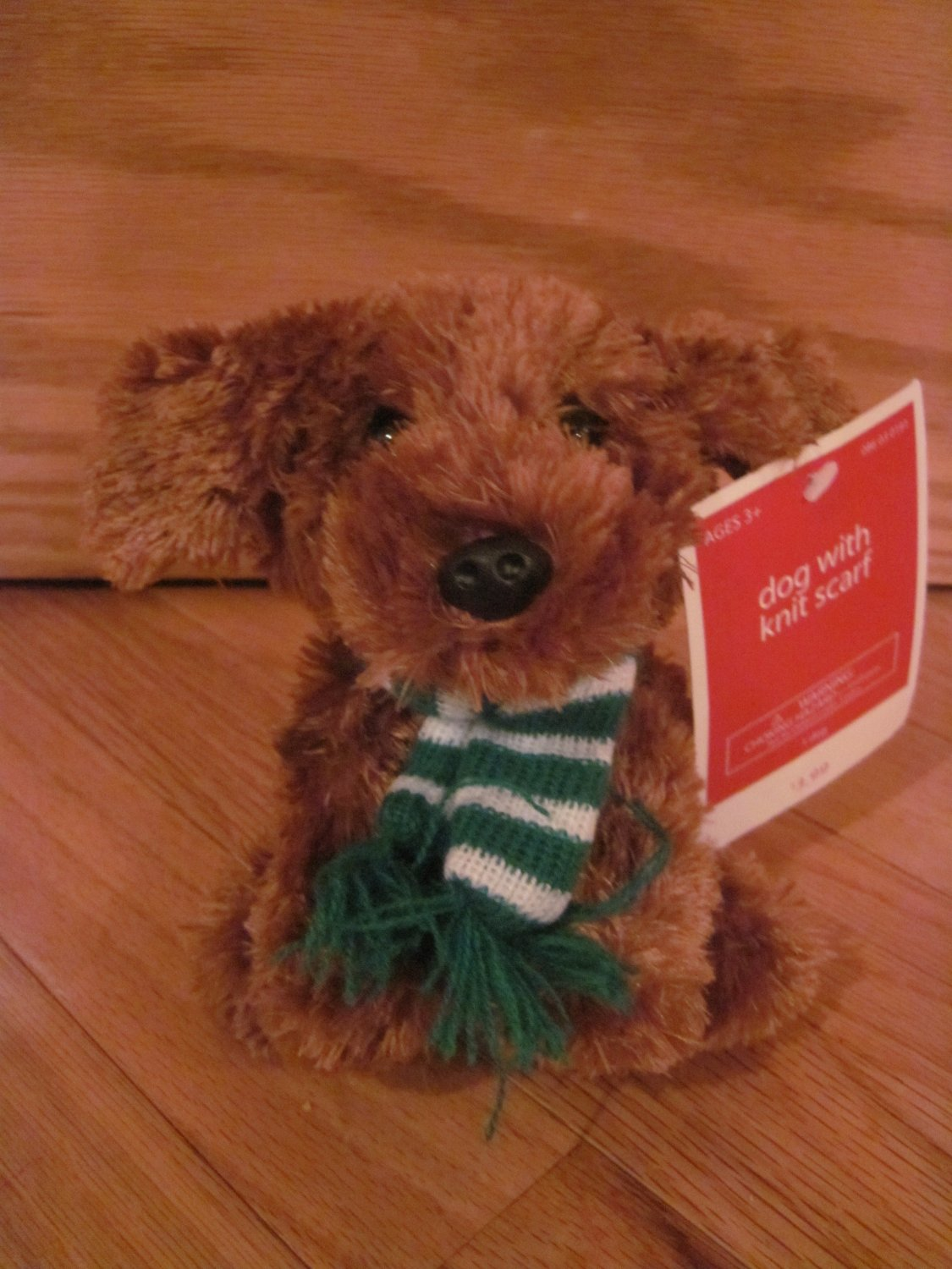 Animal Adventure Plush Brown Puppy Dog Wearing Green And