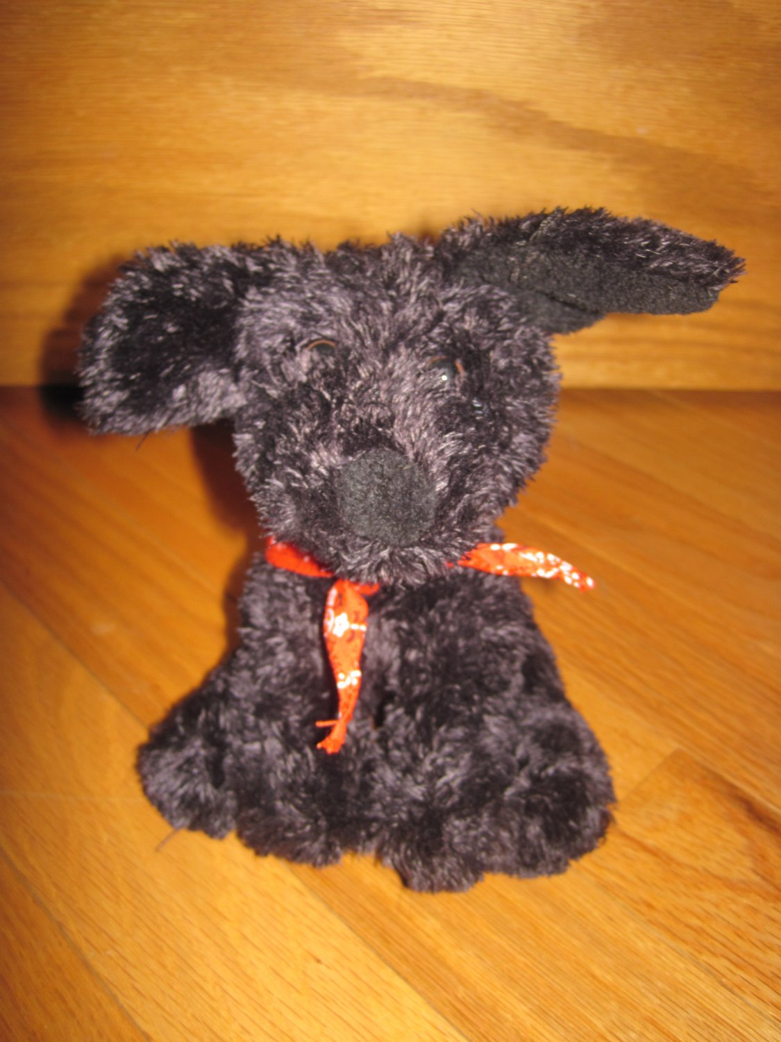 Animal Adventure Plush Black Puppy Dog Wearing Red Bandanna