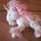 Russ Berrie White Unicorn Pink Yarn Mane Fur Hearts Name Aurora No. 23444