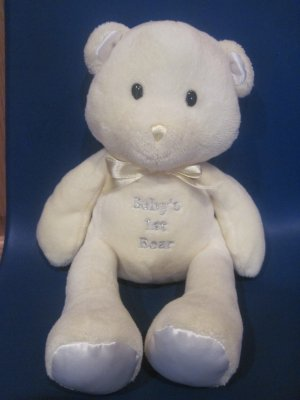Prestige Baby's 1st Bear Yellow Plush First Teddy Rattle White Satin Ears Feet