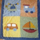 Carters Plush Blue, Orange, Yellow & Green Sailboat, Train, Car & Helicopter Baby Blanket