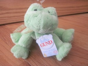 Baby Gund Plush Green Touch of Plaid Frog Frobbit Rattle 58435