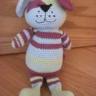 Animal Adventure 2006 Plush Knit Crochet Puppy Dog Green Blue & Purple Stripes
