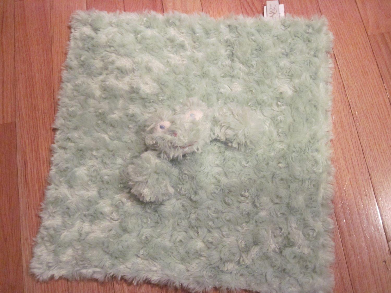 Maison Chic Green Swirl Fur Frog Security Blanket Lovey Satin Back