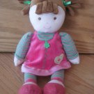 Carters Just One Year Plush Doll Brown Hair Pink & Green Stripe Dress Heart Mary Jane Shoes