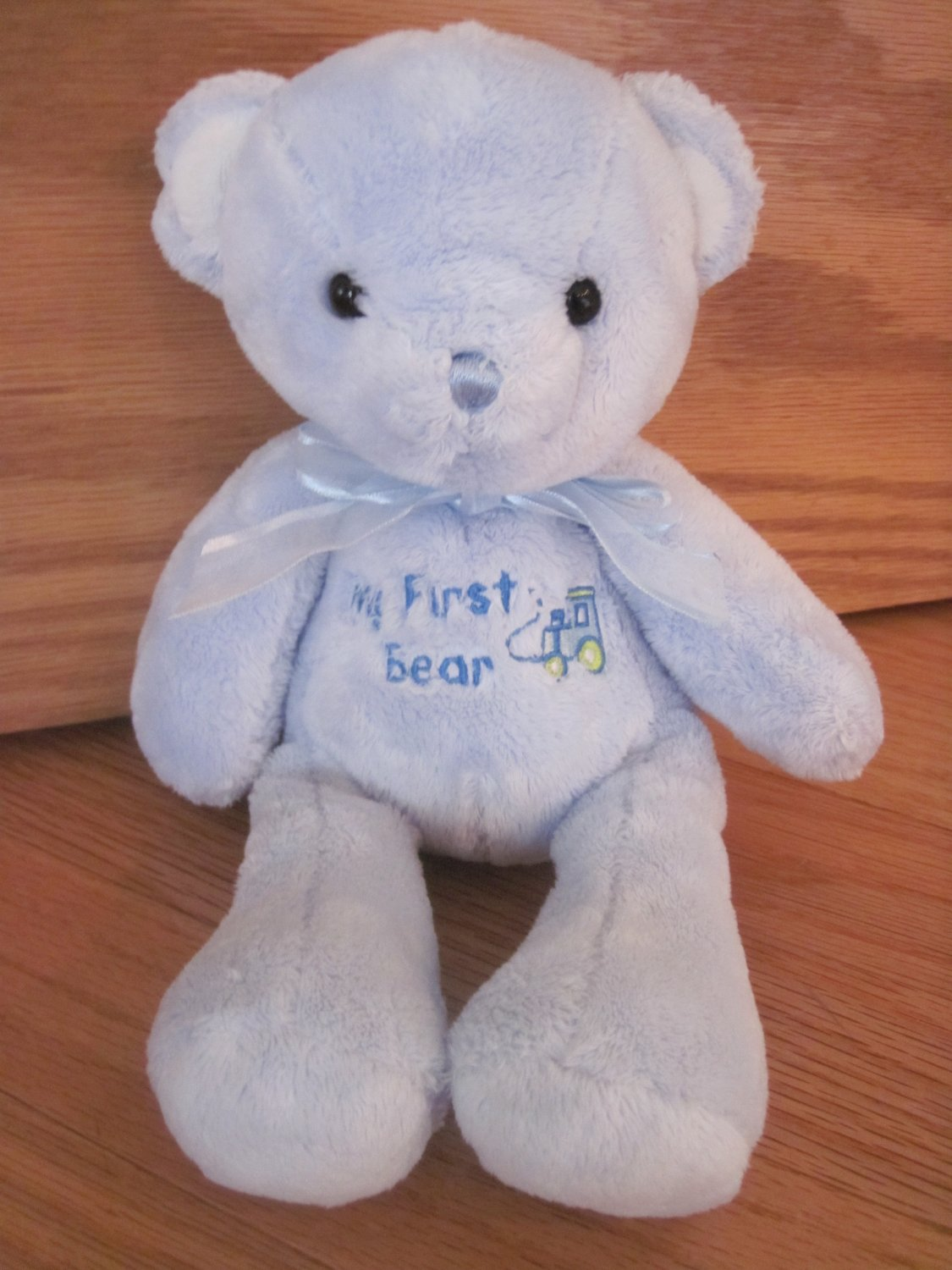 Carters Just One Year Plush Blue Teddy My First Bear Train