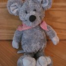 Sugar Loaf Plush Gray Mouse Wearing Red and White Gingham Scarf Handkerchief
