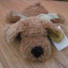 Walmart Kid Connection Plush Golden Brown Laying Puppy Dog White, Yellow, Green Sheer Plaid Ribbon