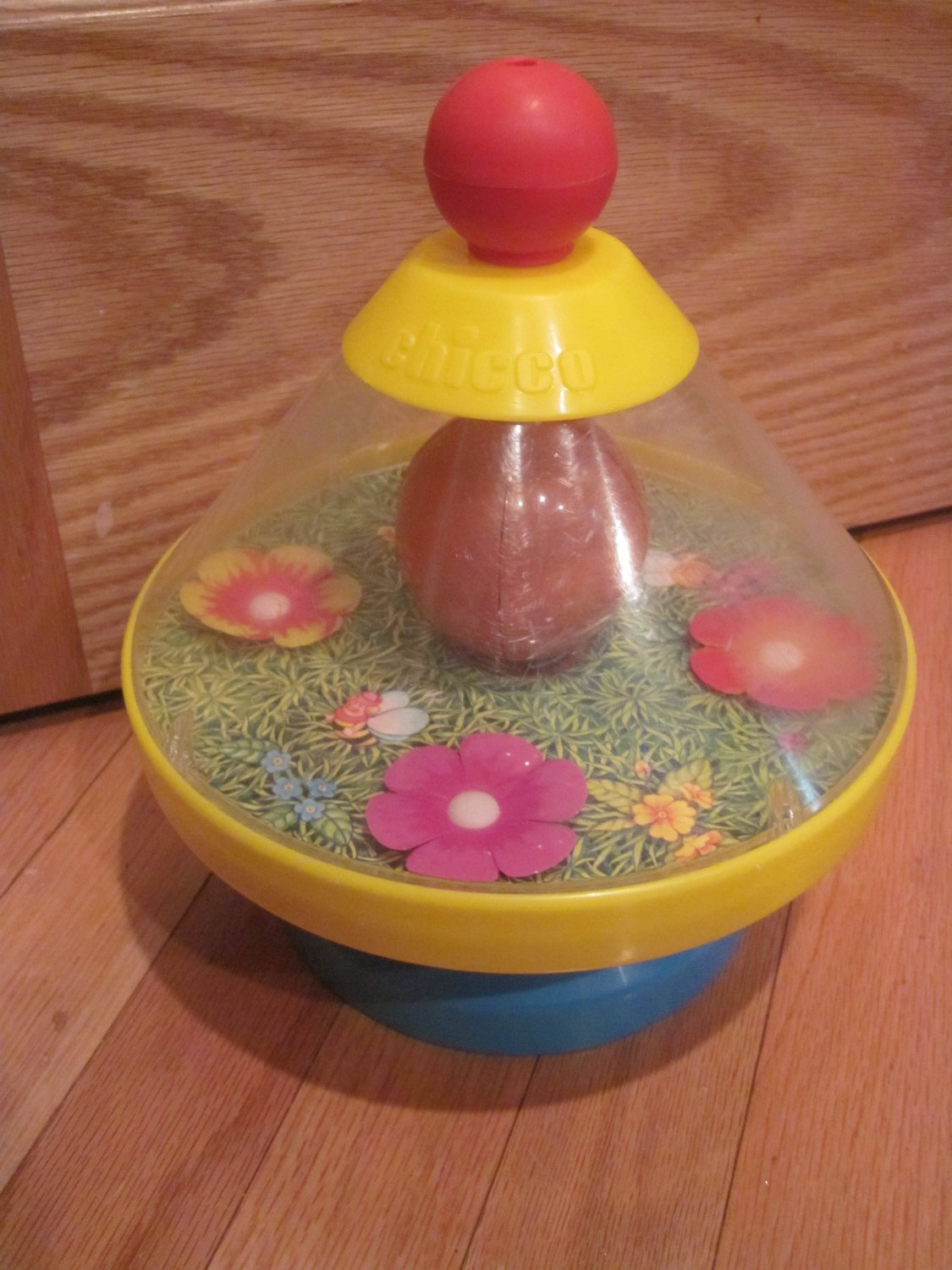vintage chicco spinning bee flowers bell toy yellow  orange and blue