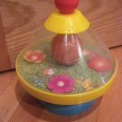 Vintage Chicco Spinning Bee Flowers Bell Toy Yellow, Orange and Blue