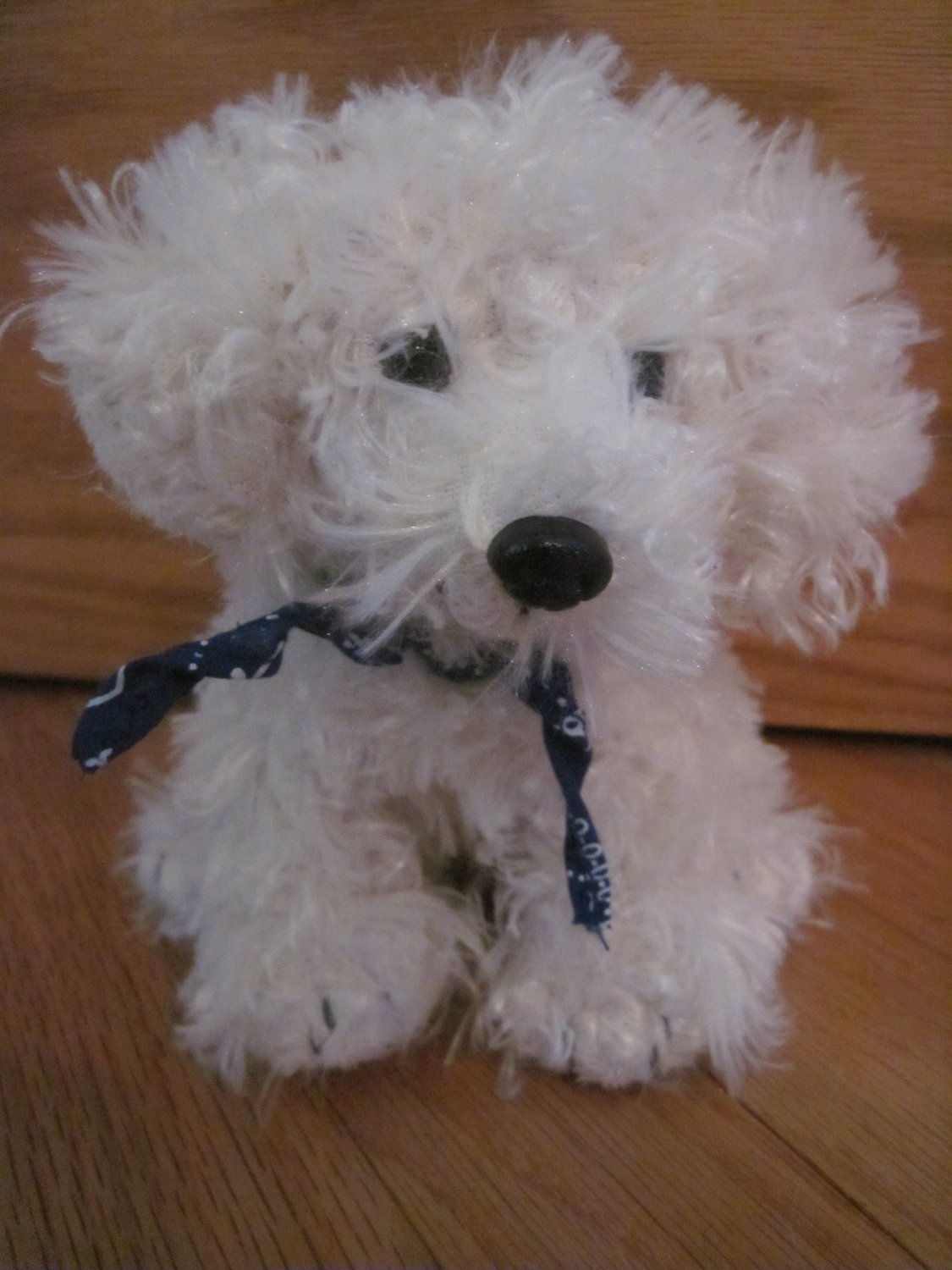 Target Circo Animal Adventure Plush White Cream Curly Puppy Dog Blue Bandanna