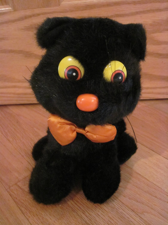 Vintage 1988 Applause Plush Black Kitty Cat Orange Nose Bow Tie Sitting Halloween 21245
