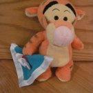 Disney Winnie the Pooh Tigger the Tiger Plush Rattle Holding Blue Blanket Bee Bug