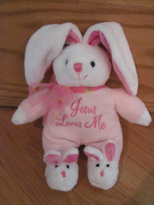 Dandee Collectors Choice Pink Amp White Plush Bunny Rabbit
