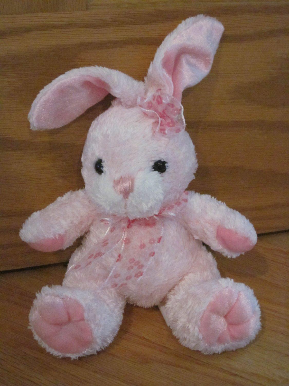 Walmart Pink & White Plush Bunny Rabbit Flower Bow