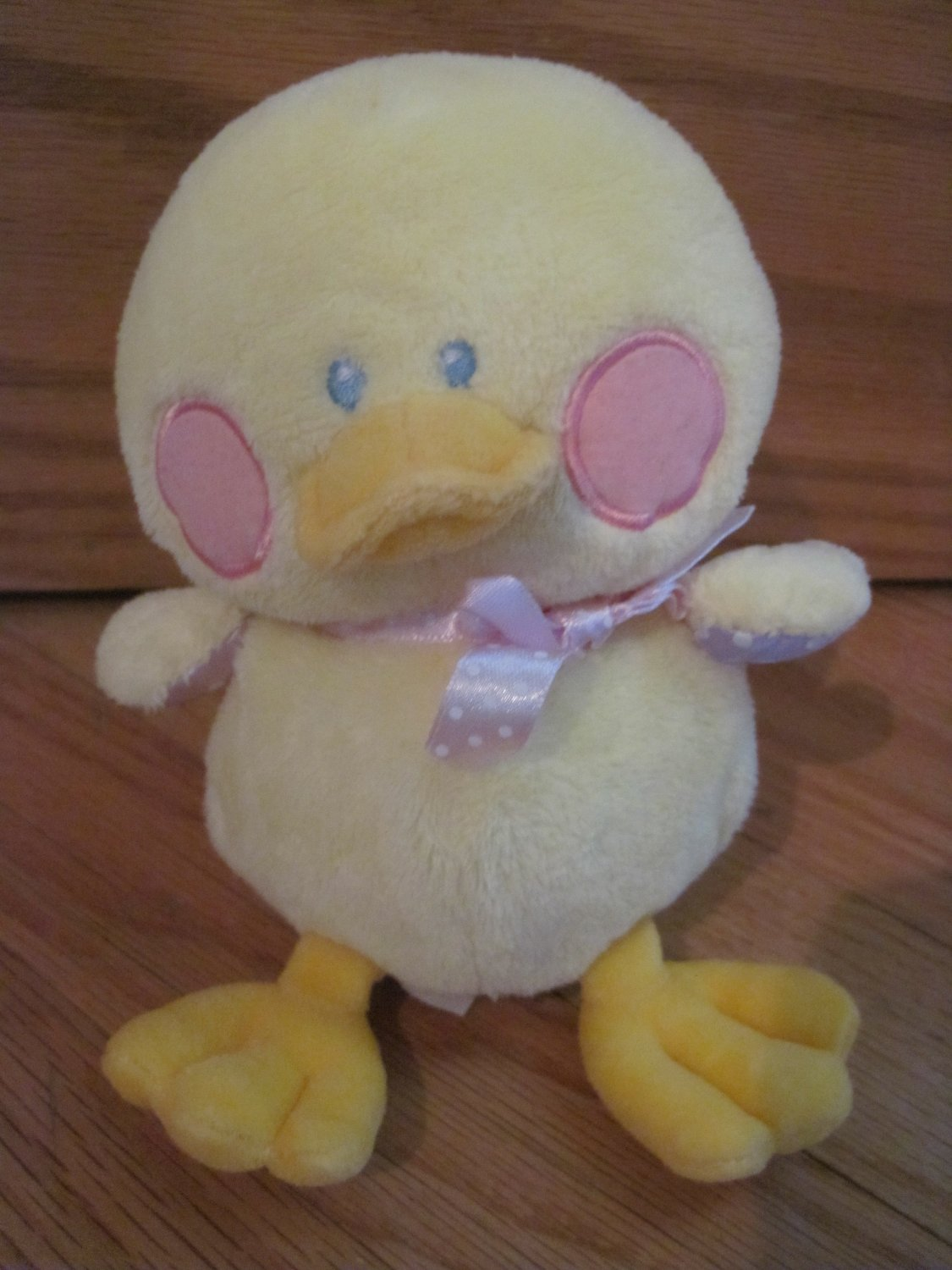 Baby Ganz Plush Yellow Duck Rattle Named Delia Round Rosy Circle Cheeks BG894