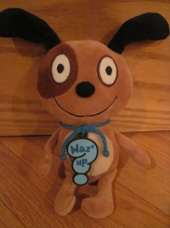 Hallmark Plush Brown Puppy Dog Waz' Up Toy Blue Cord Collar