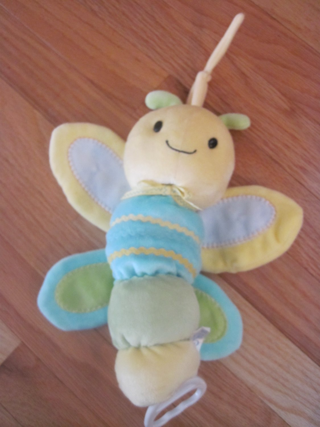 Carters Child of Mine Plush Musical Dragonfly Yellow Teal Green Rick Rack Accents