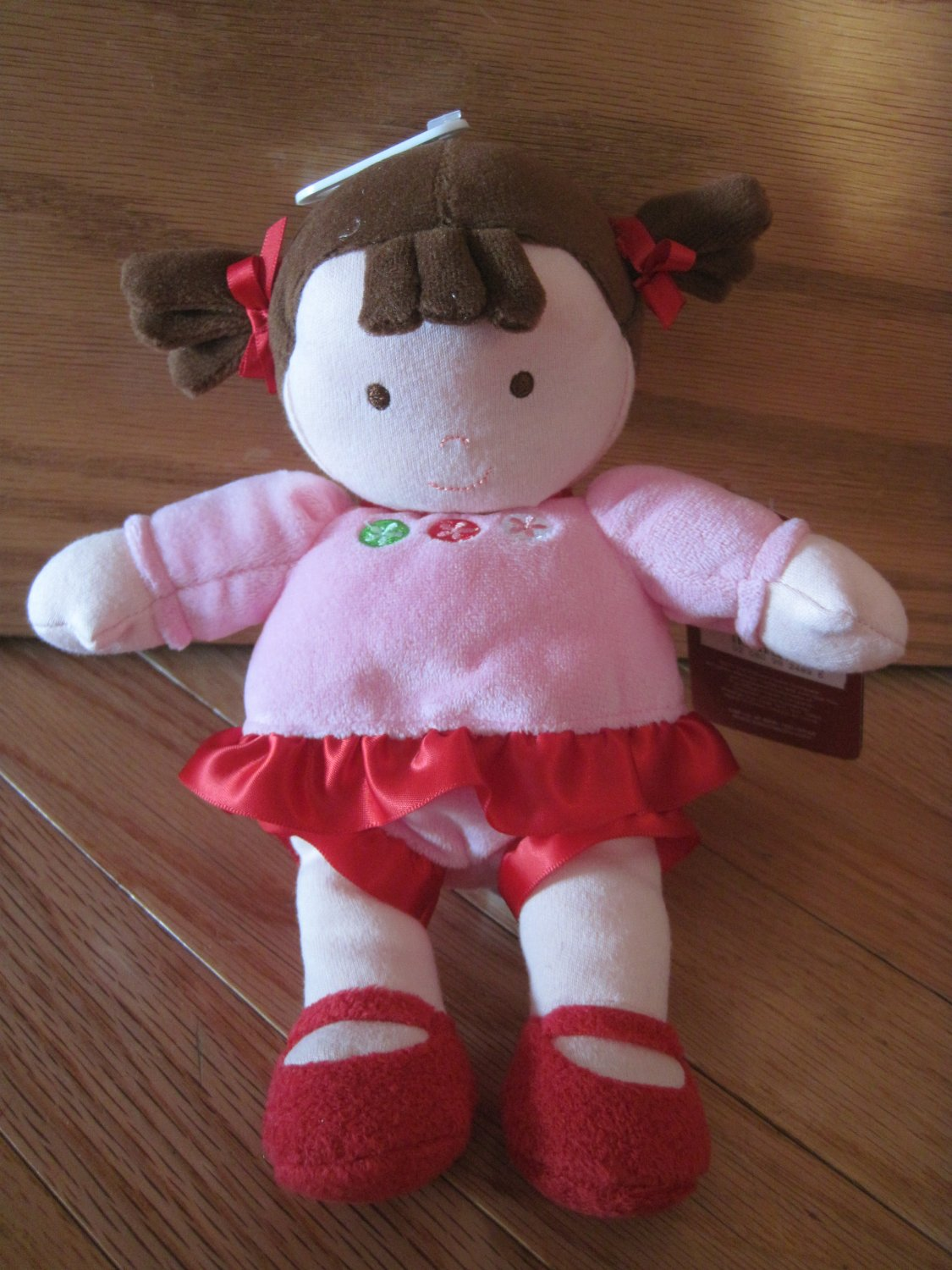 Carters Just One You Plush Baby Doll Brown Ponytails Pink Red Dress Circle Flowers 92489