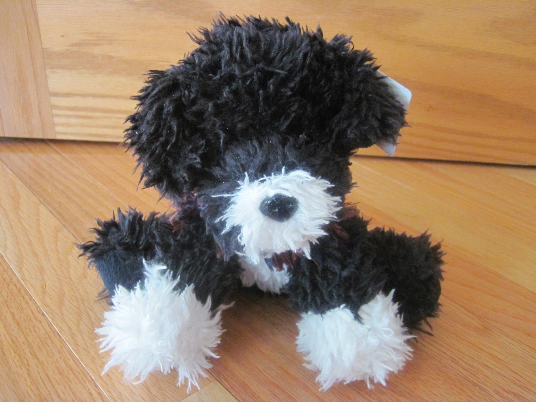 Maurices 2009 Paisley Portuguese Water Dog Black & White Plush Puppy Dog Purple Knit Shawl Scarf