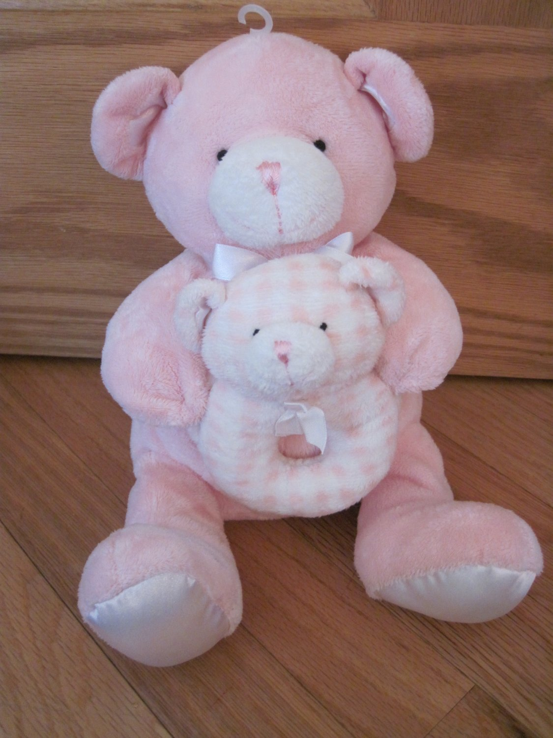 Kids Preferred Pink Plush Teddy Bear Holding Gingham Ring Bear Rattle Satin Ears Feet