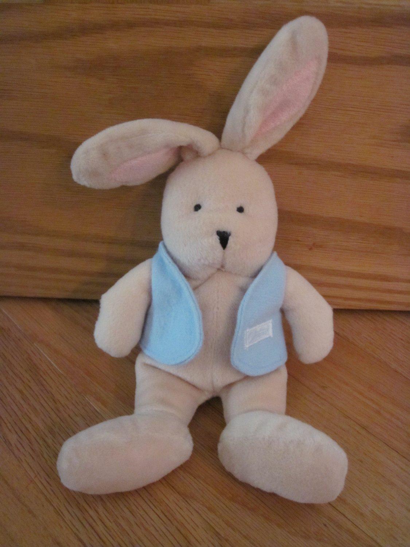 Carters Plush Beanie Tan Bunny Rabbit Pink Ears Blue Vest