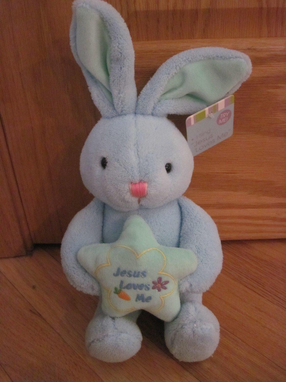 DanDee Collectors Choice Blue Jesus Loves Me Bunny Rabbit Holding Green Star Dan Dee