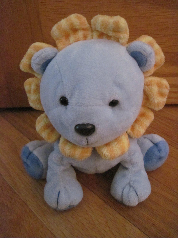 Carters Child of Mine Blue Plush Lion Rattle Yellow Striped Mane