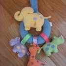 Tykes Plush Animal Elephant, Hippo, Giraffe, Rhino Ring Baby Mobile Rattle