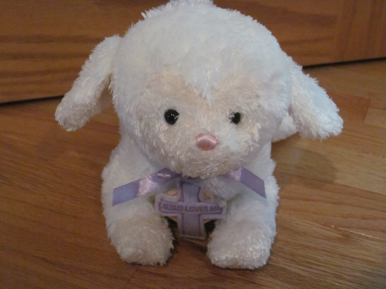 Gund Blessed Little Lamb #36359 Plush White Jesus Loves Me Sheep Purple Cross