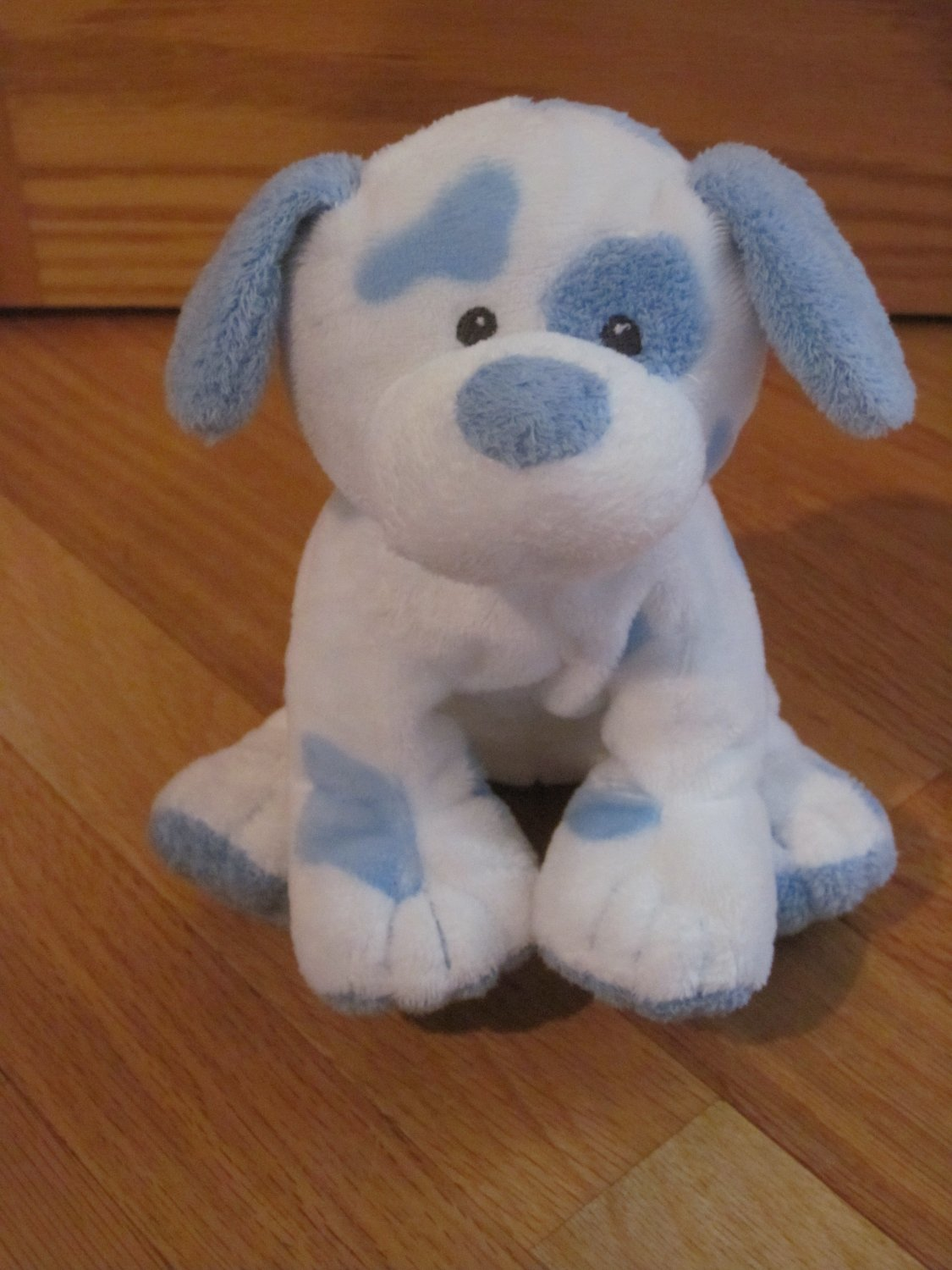 ty baby pluffies blue  u0026 white spotted puppy dog named pups