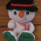 Fisher Price Cozie Snowman White Thermal Plush Striped Scarf Black Hat Carrot Nose K4627