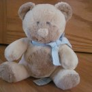 Russ Berrie Plush Tan Beige Teddy Bear Rattle Blue White Ribbon Taffey 21718