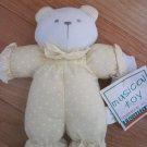 Healthtex Plush White Musical Teddy Bear Rattle Yellow Polka Dot Stripe Outfit