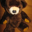 "Vintage 1973 Brown Jointed Dakin 9"" Stuffed Plush Teddy Bear Gold Hands & Feet Red Felt Tongue"
