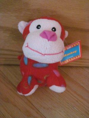 Best Made Toys Red Circle Fleece Monkey Plush Animal Pink Face Target